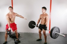 men exercise with dumbbell kettlebell