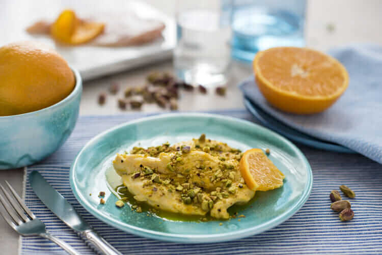 Marinated Chicken Breast in Orange Juice with Pistachios Recipe