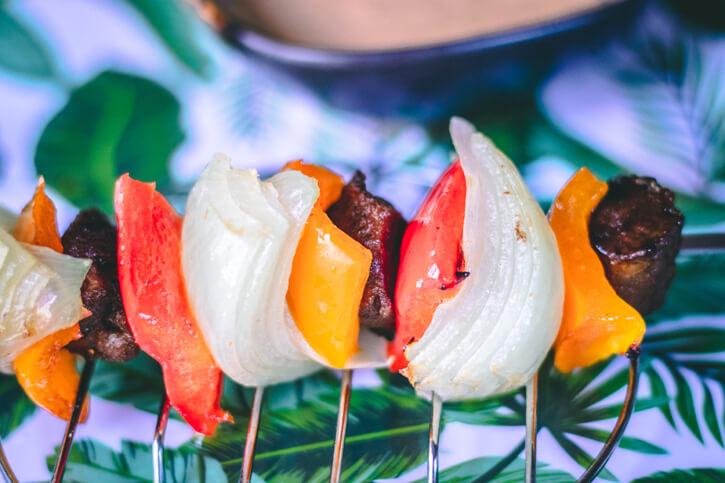 Beefless Kabobs with Sweet Chili Hummus Recipe