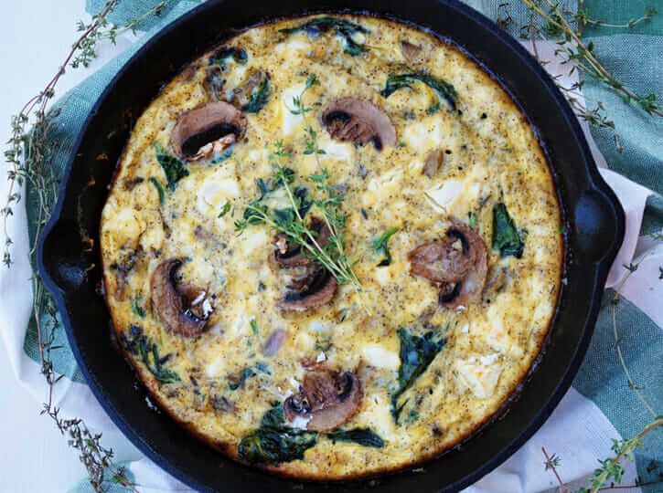 Spinach, Mushroom and Goat Cheese Frittata Recipe